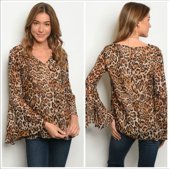 Peach Love California Tops - Leopard Print Bell Sleeve Blouse